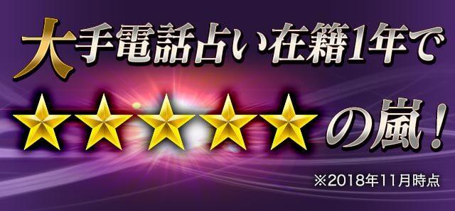 大手電話占い在籍1年で★★★★★の嵐!